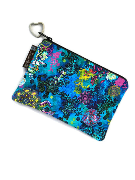 Catch All Zippered Pouch - Blue Crosshatch Fabric