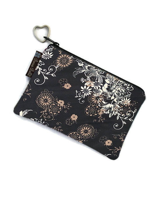 Catch All Zippered Pouch - Black Beauty Fabric