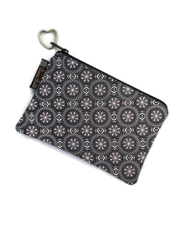 Catch All Zippered Pouch - Bronze & Black Elegance Fabric