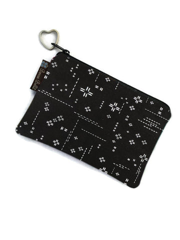 Catch All Zippered Pouch - Crosshatch Black Fabric