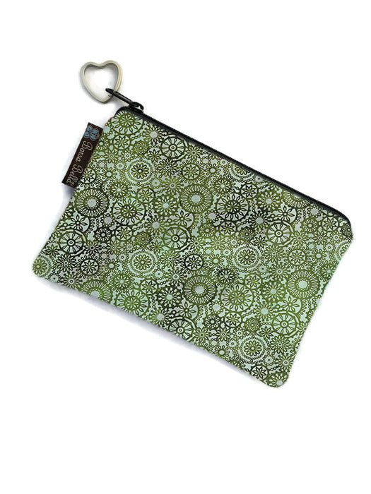 Catch All Zippered Pouch - Green Lace Fabric