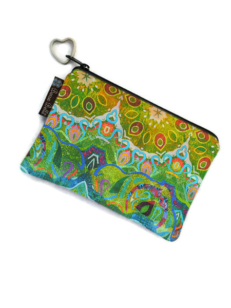 Catch All Zippered Pouch - Ombre Green Fabric
