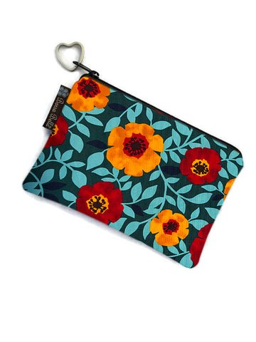 Catch All Zippered Pouch -Poppy Love Fabric