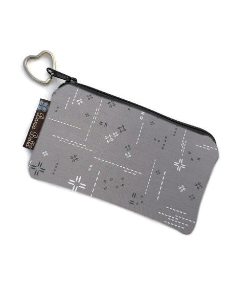 Catch All Zippered Pouch - Crosshatch Gray Fabric