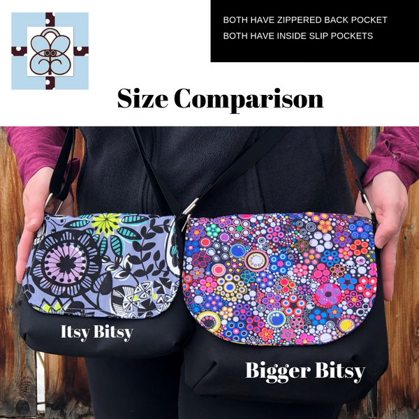 Itsy Bitsy/Bigger Bitsy Messenger Purse - Doodle Bloom Canvas Black Fabric