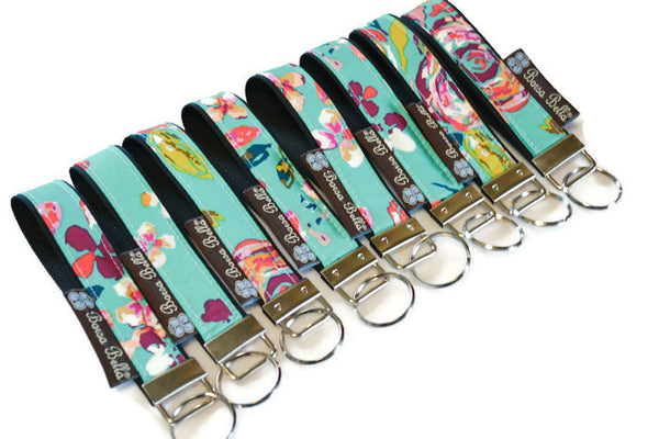 Keychain Wristlets -   Bountiful Teal Fabric