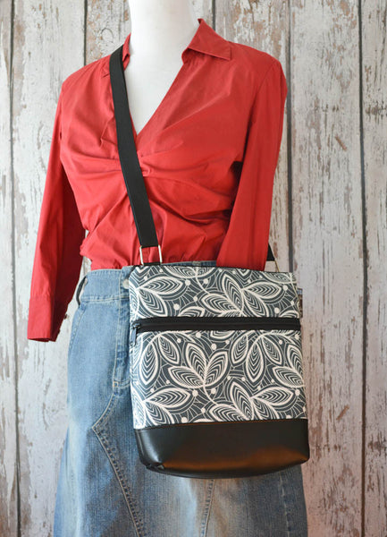 Borsetta Purse Cross Body - Shoulder Bag - Faux Leather Earl Gray Fabric