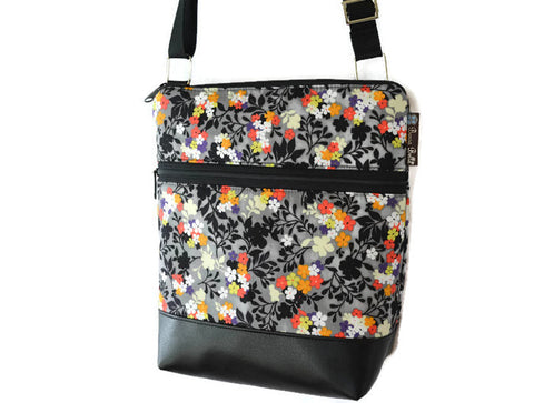 Borsetta Purse Cross Body - Shoulder Bag - Faux Leather Urban Garden Fabric