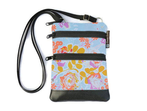 Ella Bella Purse Faux Leather Small Cross Body Purse - Blue Bliss Fabric