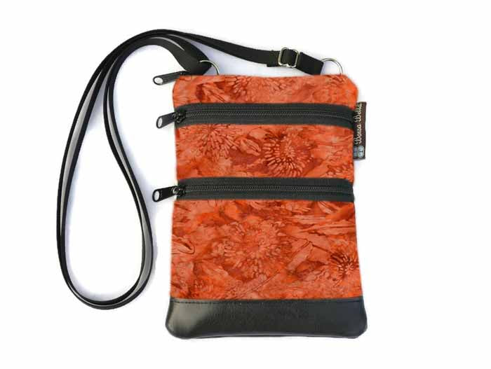 Ella Bella Purse Faux Leather Small Cross Body Purse - Marmalade Batik Fabric