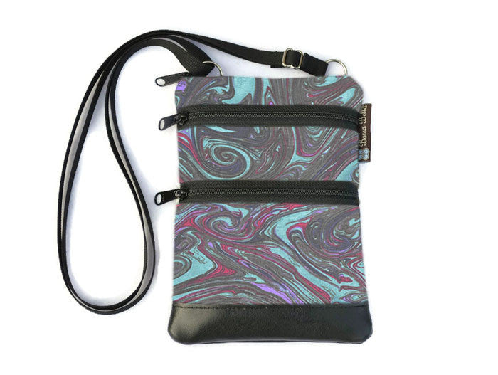 Ella Bella Purse Faux Leather Small Cross Body Purse - Midnight Ripple Fabric