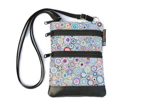 Ella Bella Purse Faux Leather Small Cross Body Purse - Blanket of Blossoms Fabric