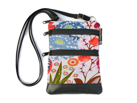 Ella Bella Purse Faux Leather Small Cross Body Purse - Bella Blossoms Fabric