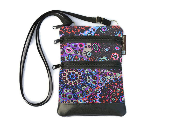 Ella Bella Purse Faux Leather Small Cross Body Purse - Stary Nights Fabric