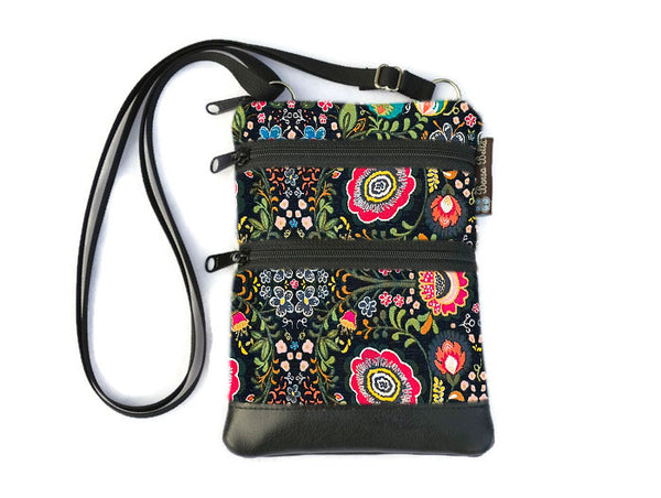 Ella Bella Purse Faux Leather Small Cross Body Purse - Gypsy Garden Fabric