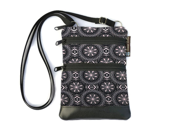 Ella Bella Purse Faux Leather Small Cross Body Purse - Bronze and Black Elegance Fabric