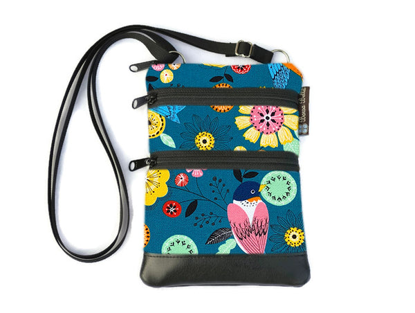 Ella Bella Purse Faux Leather Small Cross Body Purse - Garden Party Fabric