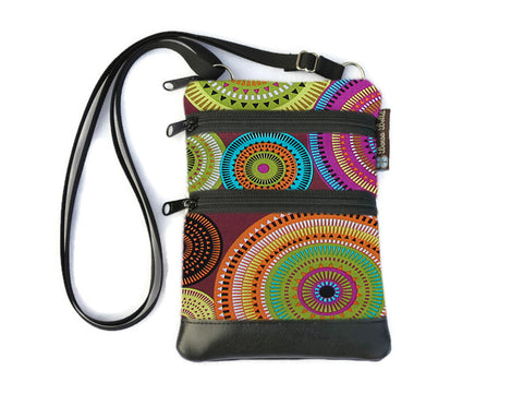 Ella Bella Purse Faux Leather Small Cross Body Purse - Bohemian Jewels Fabric