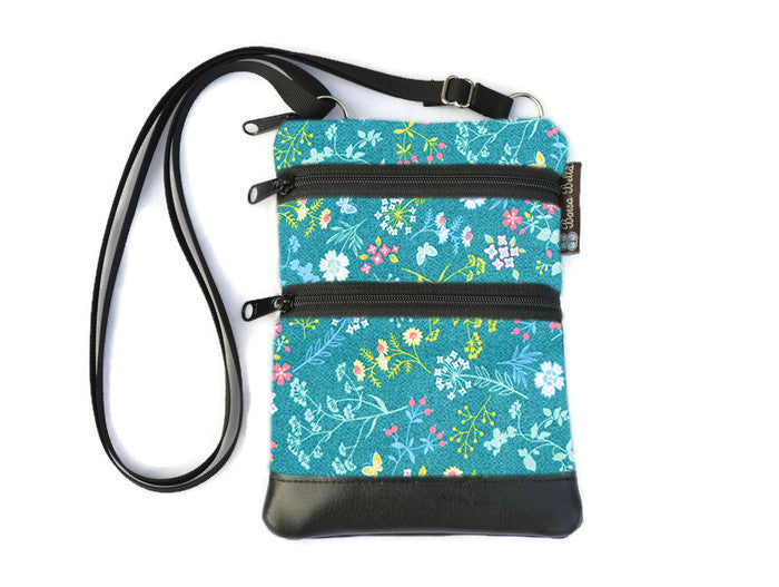 Ella Bella Purse Faux Leather Small Cross Body Purse - Flora Fabric