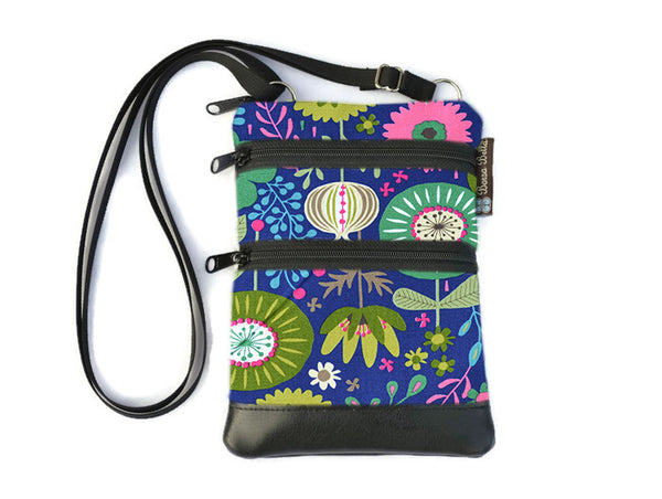 Ella Bella Purse Faux Leather Small Cross Body Purse - Garden Variety Fabric