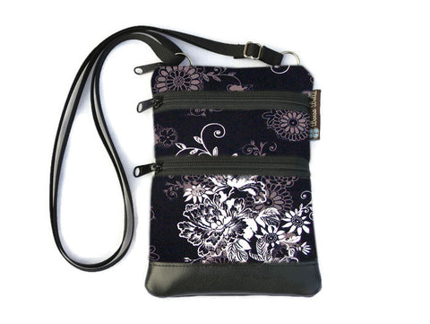 Ella Bella Purse Faux Leather Small Cross Body Purse - Black Beauty Fabric