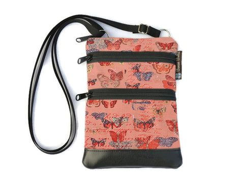 Ella Bella Purse Faux Leather Small Cross Body Purse -Butterfly Wishes Fabric