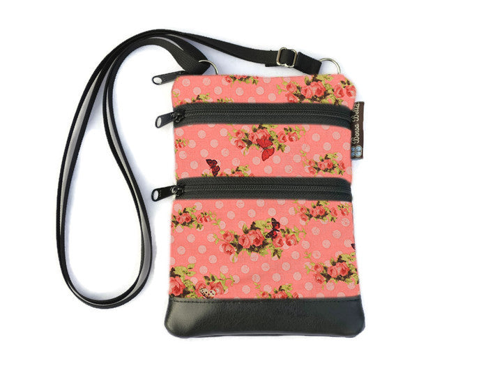 Ella Bella Purse Faux Leather Small Cross Body Purse - Spring Coral Fabric