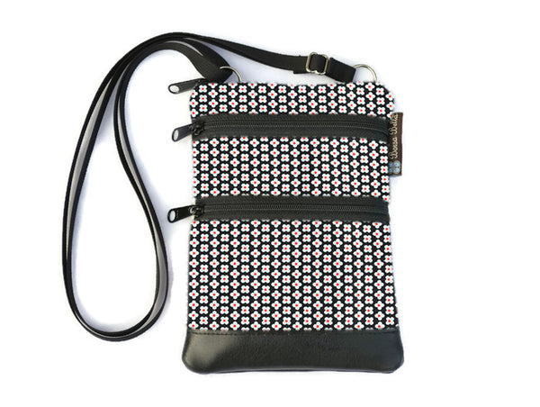 Ella Bella Purse Faux Leather Small Cross Body Purse - Daisey Dots Fabric