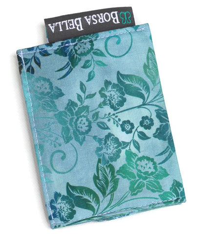 Card Holder RFID Protected - Bloomin Teal Fabric