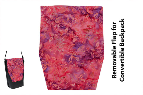 Convertible Backpack Flaps - Pink/Purple/Orange Batik Fabric