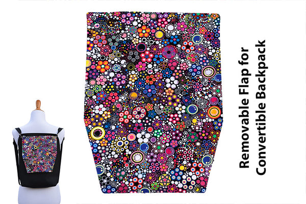 Convertible Backpack Flaps -   Glorious Dots Fabric