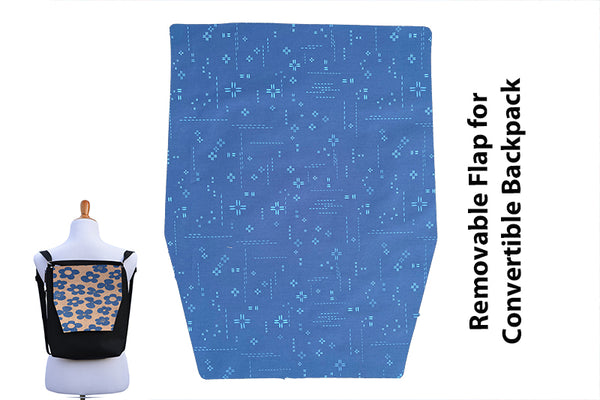 Convertible Backpack Flaps -   Bright Blue Crosshatch Fabric