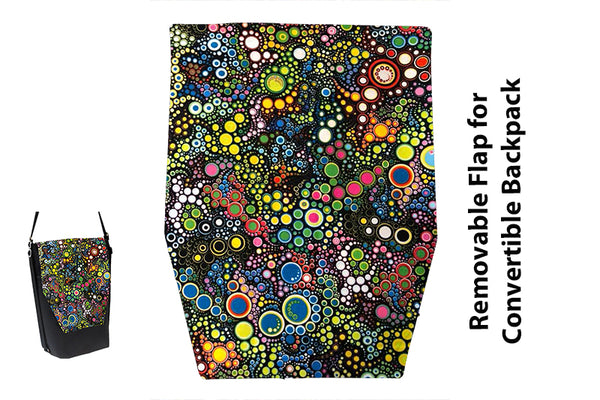 Convertible Backpack Flaps - Caribbean Dots Fabric