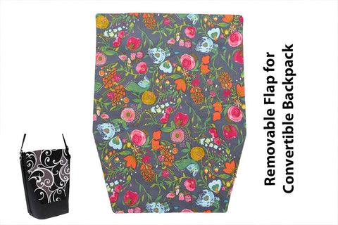 Convertible Backpack Flaps - Love Blooms Fabric