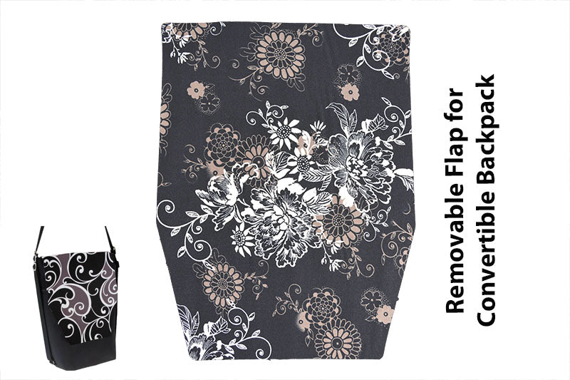 Convertible Backpack Flaps - Black Beauty Fabric