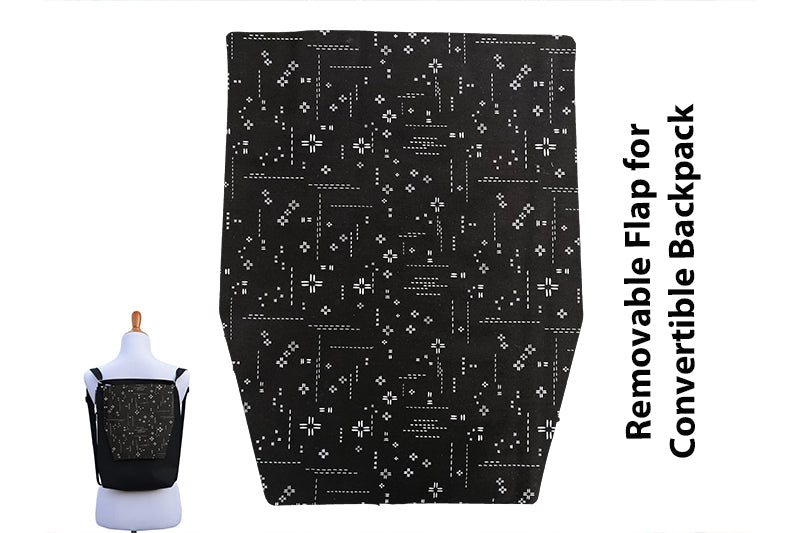 Convertible Backpack Flaps - Crosshatch Black Fabric
