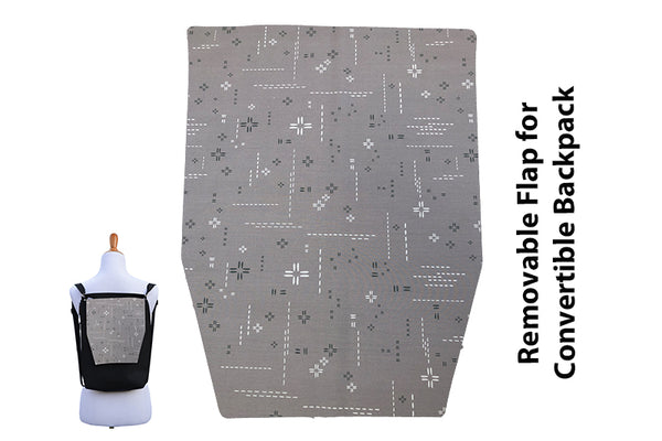 Copy of Convertible Backpack Flaps - Crosshatch Gray Fabric