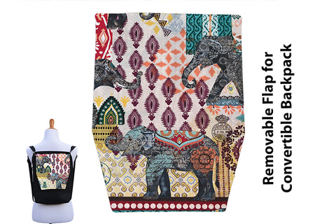 Convertible Backpack Flaps - Indie Elephants Fabric