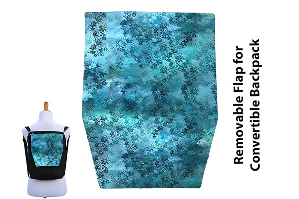 Convertible Backpack Flaps -  Bloomin Teal Fabric