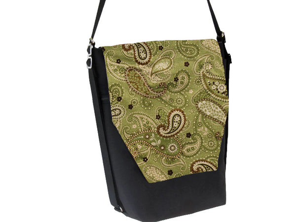 Convertible Backpack -  Green Paisley Fabric