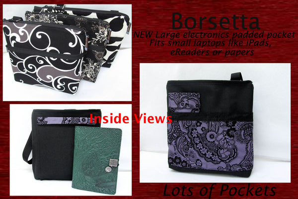 Borsetta Purse Cross Body - Shoulder Bag - Blue Batik Fabric