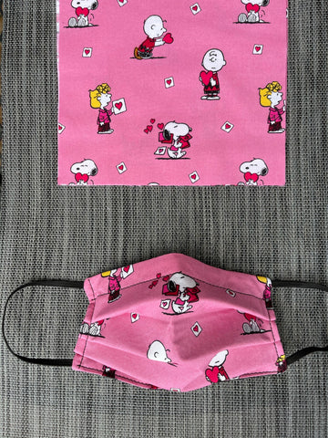 Reversible 2 or 3 layer Face Mask Limited Edition - Pink Snoopy Fabric and Black