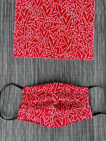 Reversible 2 or 3 layer Face Mask Limited Edition - Red Hearts Fabric and Black