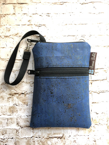 Short Zip Phone Bag - Wristlet Converts to Cross Body Purse - Blue Cork Fabric