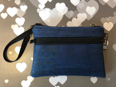 Long Zip Phone Bag - Cork - Cross Body Option -  Bella Blue Cork Fabric