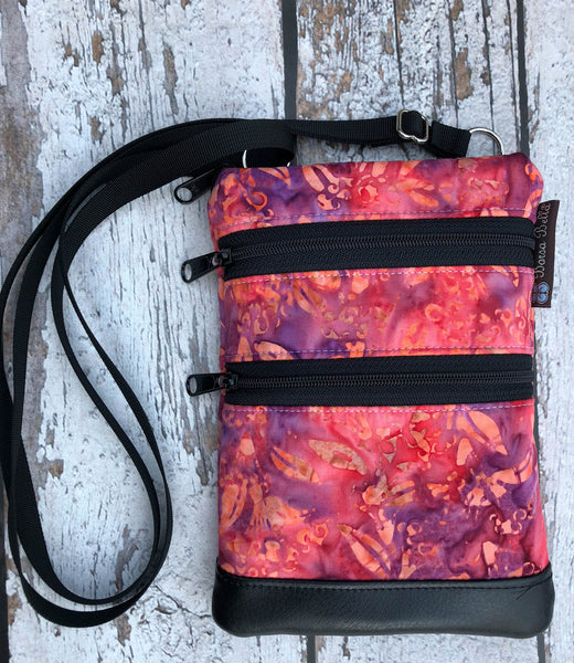 Ella Bella Purse Faux Leather Small Cross Body Purse - Pink/Purple Batik Fabric