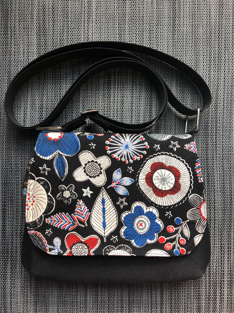 Itsy Bitsy Messenger Purse - Doodle Bloom Canvas Black Fabric