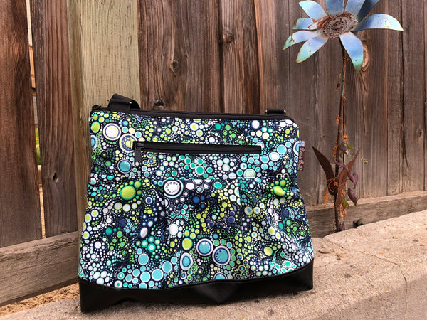 Hobo Purse Cross Body - Shoulder Bag - Ocean Blue Dots  Fabric