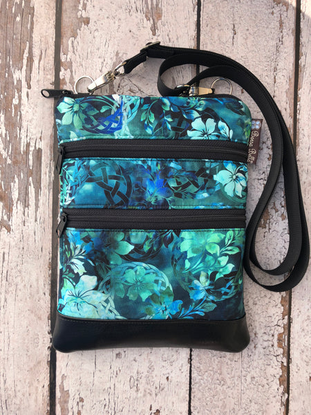 Travel Bags Crossbody Purse - Cross Body - Faux Leather - Tablet Purse -  New Teal Fabric