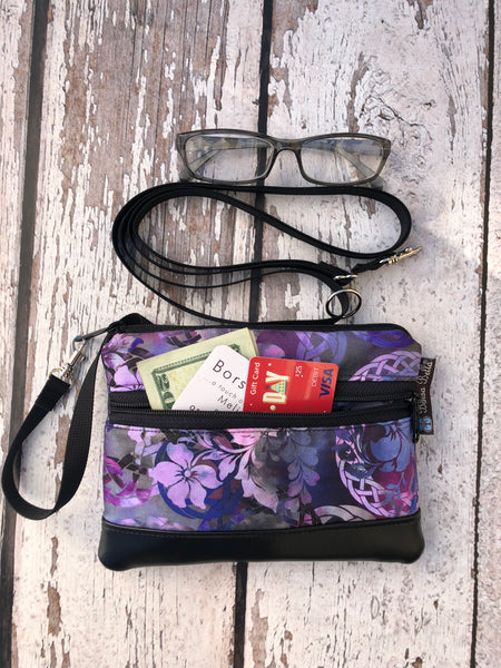 Long Zip Phone Bag - Faux Leather Accent - Cross Body Option - New Purple Fabric